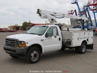 2001 Ford F450 28 Bucket Truck Aerial V10 6.8l At Ac Generator Bidadoo