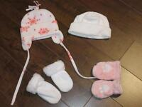 Newborn 0-3 months (Girls) Winter Hats/Mitts