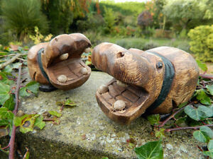 Wooden Hippo Carving - Pair of Hand Carved Hippos.