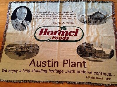 Rare George Hormel Foods Austin Mn Plant Company Promotional Promo Throw Blanket