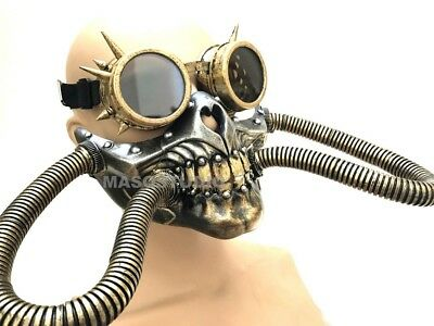 Steampunk Spiked Goggles half skull gas mask Hose Respirator Halloween Costume