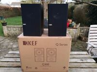 Kef Q300 Bookshelf Stereo Speakers - AS NEW