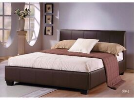 **14-DAY MONEY BACK GUARANTEE** Double Leather Bed with Deep Quilt Mattress - SAME DAY DELIVERY!