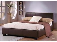**7-DAY MONEY BACK GUARANTEE** Double Leather Bed with Deep Quilt Mattress - SAME DAY DELIVERY!