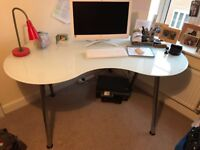 Kidney shaped large office glass/chrome desk