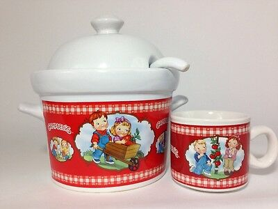Campbell Soup Company Ceramic Crock Tureen With Lid   Ladle   Cup Mug 2002