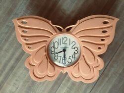 Vintage 1987 Burwood Decorative 3D Butterfly New Haven Quartz Clock- Peach WORKS
