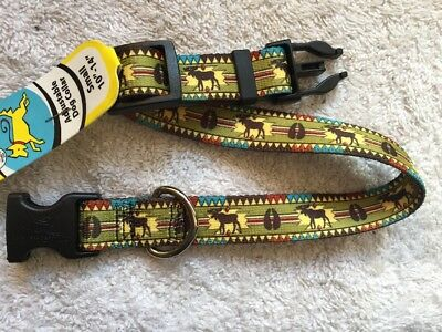 "Moose Lodge Print Adjustable Small Dog Collar (10""-14"") by Yellow Dog Design"