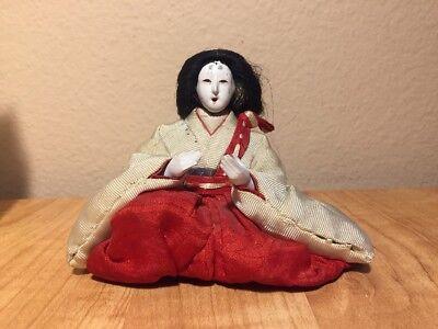 "Antique or Vintage Japanese GoFun Ningyo Hima Kimekomi Doll, 4"" tall"
