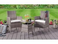 **FREE & FAST UK DELIVERY** 3 Piece Rattan Outdoor Bistro Set Garden Set - BRAND NEW