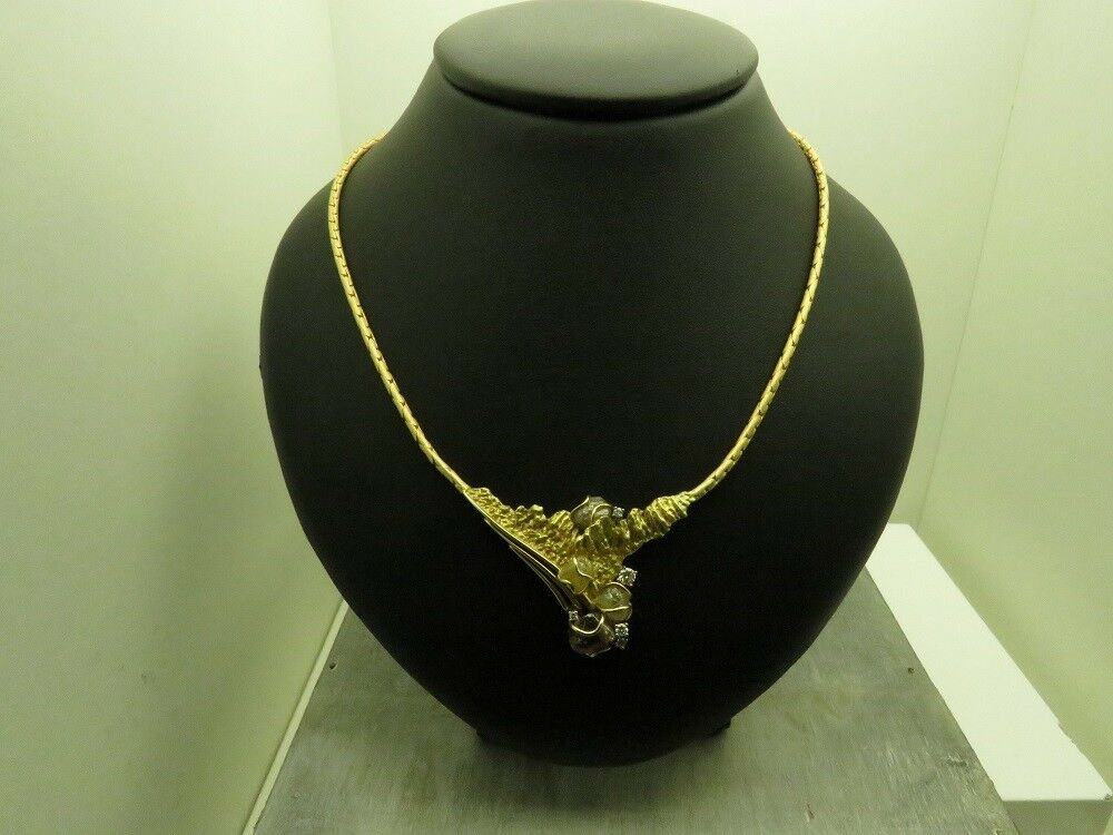 UNIKATGoldCollier750 und RohdiamantenBrillianten GOLDSCHMIEDEARBEIT