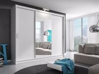BUY - **- BRAND NEW - 203 CM WIDE GERMAN MADE FULLY MIRROR SILDING DOOR WARDROBE + SAME DAY DELIVERY