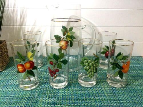Vintage Glass Pitcher with 6 Drinking Beverage Glasses ~  Fruit Design