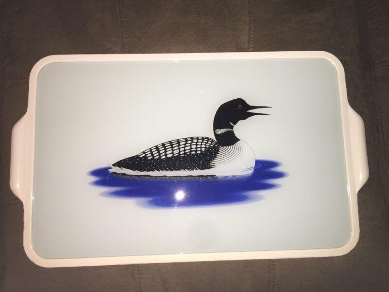 LOON GLASS ART TRAY ARTIST HOWARD DALEY BIRD LAKE DUCK FOWL 21X12