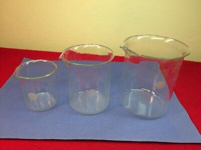Vintage Pyrex Beaker Lot 200 600 1000ml Beaker Lab Glassware Made In Usa