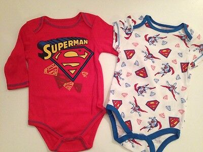 Superman Baby Outfit (Baby Boy Superman Superhero 2 Bodysuits Size 3 6 9 Months Layette Outfit Set Red)