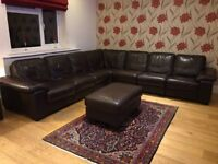 dark brown 8 piece leather sofa