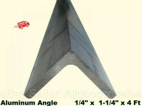 "ALUMINUM ANGLE 1/4"" x 1-1/4"" x 4 Ft Length Unpolished Alloy 6061 90° Stock"
