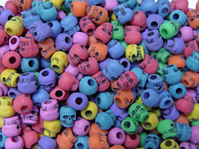 Multi Colors Skulls Pony Beads made in USA Halloween crafts paracord jewelry - Halloween Beaded Jewelry