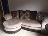4 Seater Brown And Leather Chaise Lounge Sofa with matching Swivel Cuddle Chair