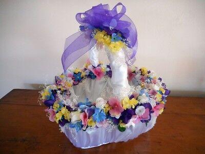 Easter/ Basket/ Pattern/ Silk Flowers/ Satin/ DIY/ Decor/ Craft/ Idea/ - Easter Basket Craft