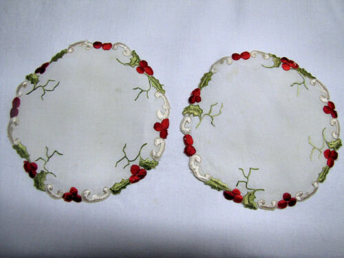 """Pair 5 1/2"""" Society Silk Vintage Doilies Embroidered Christmas Holly"""