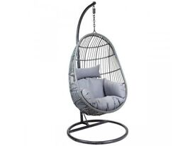**FREE & FAST UK DELIVERY** Charles Bentley Grey Hanging Egg Shaped Rattan Swing Chair