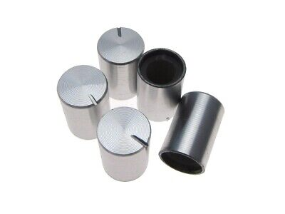 Aluminum Knob Cap For 6mm Knurled Shaft Pot 1015mm - Silver - Pack Of 5