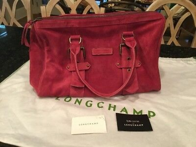 Longchamp Kate Moss  Freeway Suede Medium Duffle Fuschia