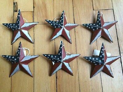 (Set of 6) PATRIOTIC AMERICANA BARN STARS 3 3/8