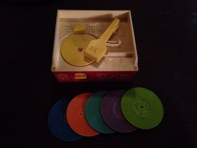 Fisher Price Music Box Record Player Plattenspieler mit 5 Platten RAR 70er
