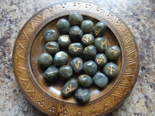 Labradorite Gemstone Runes Wiccan Pagan Altar Supply