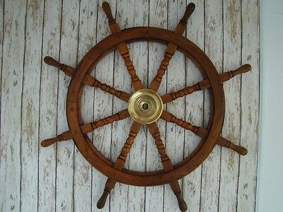 "36"" Wood / Brass Ship Wheel ~ Nautical Boat Steering Helm Decor ~ Wooden Captain"