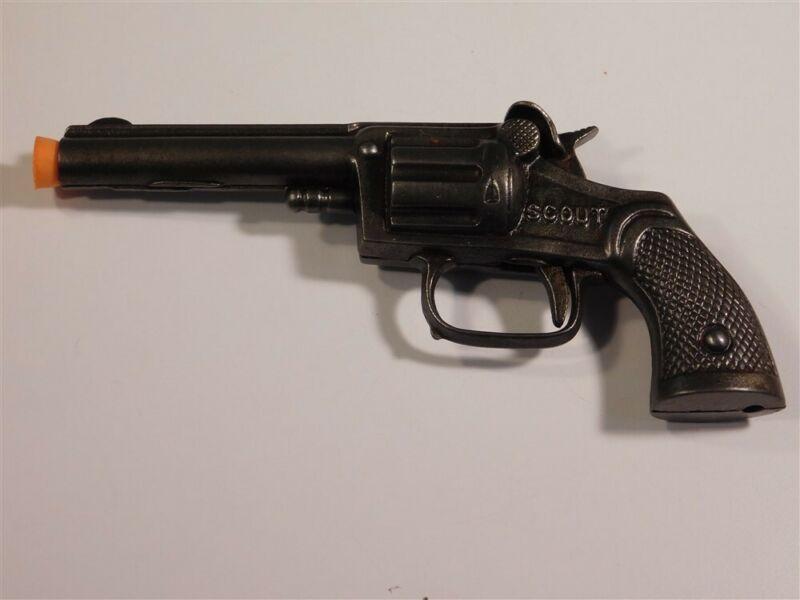 "VINTAGE 1935 STEVENS ""SCOUT"" NICKEL PLATED CAST IRON SINGLE SHOT CAP GUN #97"