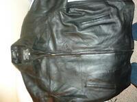 Mens Black Leather Jacket Sz XL