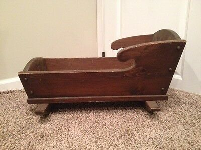 Antique Wood Baby Cradle Rocker Bassinet Primitive Country