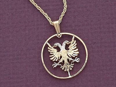 Albanian Eagle Pendant , Hand Cut Albanian Five Lek Coin, 1