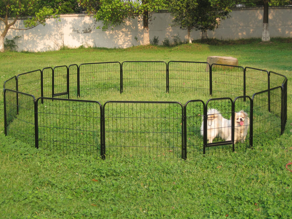 24quot tall 16 panels metal pet dog puppy cat exercise fence for Dog fence for sale cheap