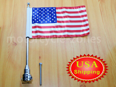Universal Motorcycle American Usa Flag Pole Luggage Rack Mount For Harley Us