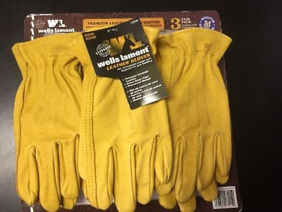 Wells Lamont 3 Pair Pack Premium Cowhide Leather Work Gloves- Medium New Op