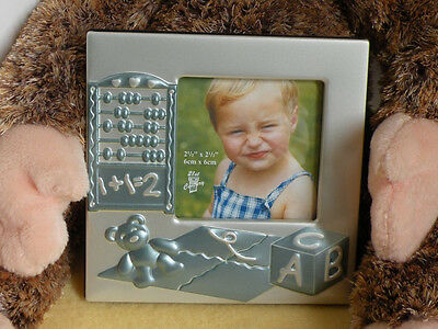 Adorable Baby Boy Photo Frame Matte Silver Blue 3 Styles Missions (Boy Frame)