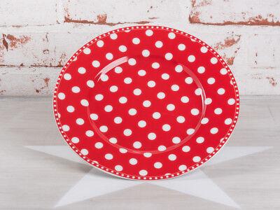 eller PUNKTE Rot Teller mit weißen Punkten Porzellan 20 cm (Rote Teller)