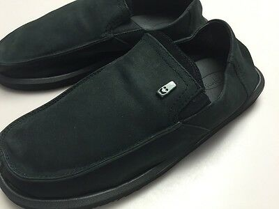 New Sanuk Men's Leather Black Board Room Sidewalk Surfer Size 9 Sanuk Mens Leather
