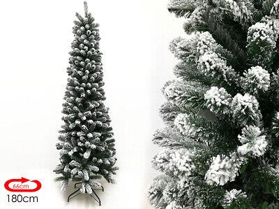Albero di Natale SLIM innevato cm 180 Pino super folto realistico 1,80 mt