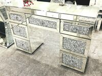 Mokka Crushed Diamond Dressing Table With 7 Drawers BRAND NEW