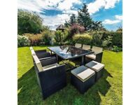 **FREE & FAST UK DELIVERY** Premium Outdoor 11-Piece Black Rattan Cube Chair & Table Dining Set