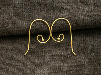 925 Sterling Silver 24K Gold  Vermeil Style 2 Pairs of Earwires 14x28mm. 24k Gold Vermeil Ear Wires