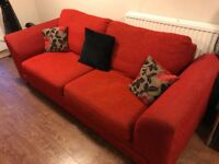 Red DFS 3 seater sofa