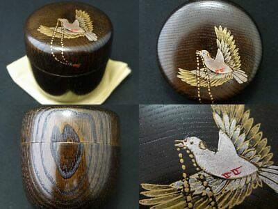 Japan Lacquer Wooden Tea caddy PIGEON have prayer beads in mouth Natsume (402)