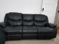 3 Piece Leather Recliner Sofa Suite